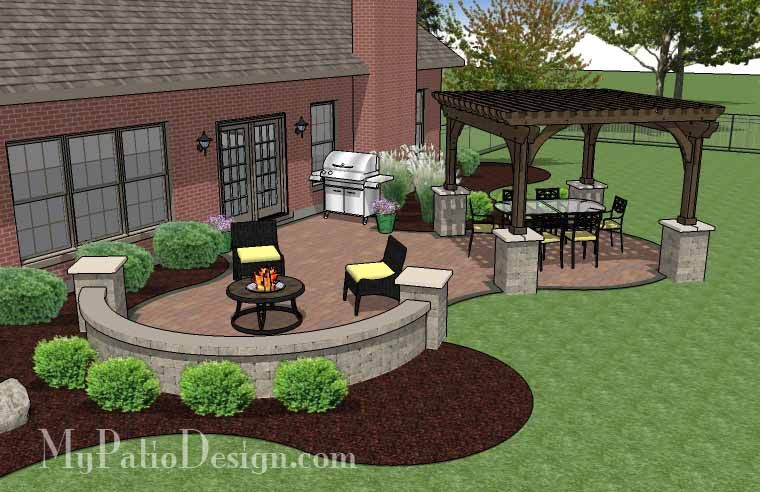 High Quality The Concrete Paver Patio Design With Pergola Features Large Circular Areas  For Outdoor Dining And Sitting