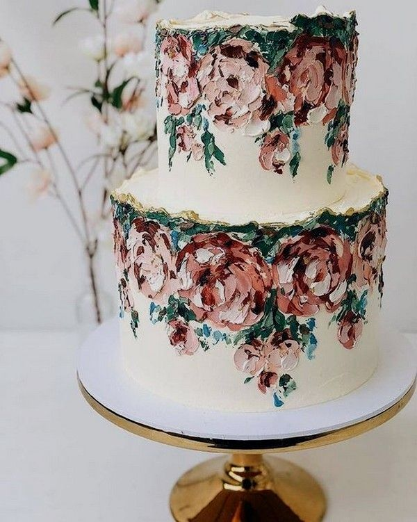 Painted Wedding Cake In 2020 Wedding Cake Prices Painted Wedding Cake Wedding Cake Decorations