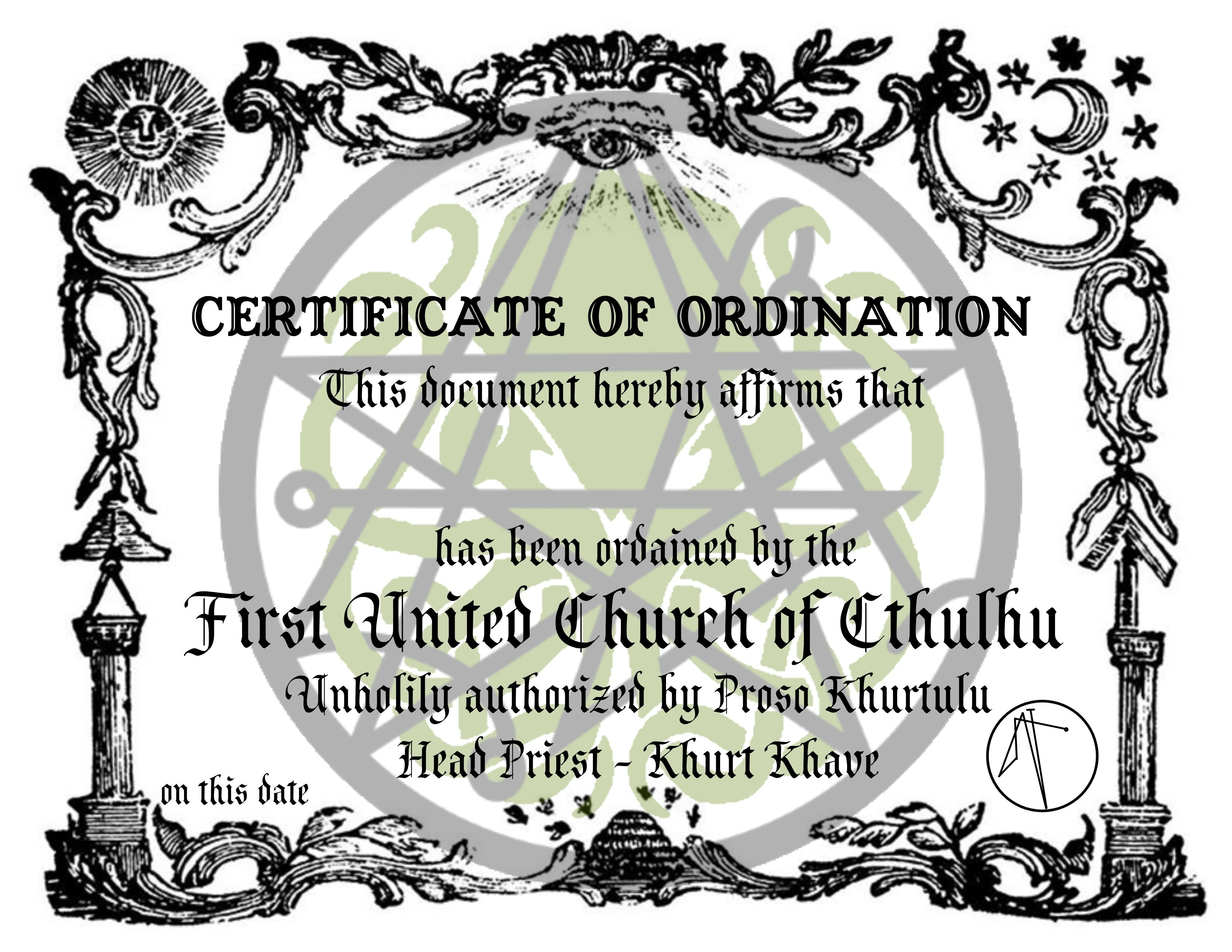 Certificate of Ordination for priests of the First United
