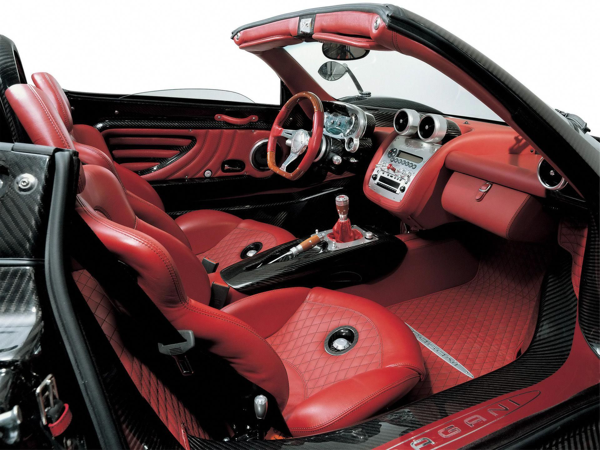 2006 Pagani Zonda Roadster F Red Leather Interior 1920x1440