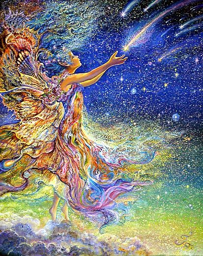 Catch a Falling Star, Josephine Wall    Dancing in the clouds far above the earth, a rainbow coloured fairy espies a shower of falling stars.  Holding out her hands she hopes to catch one of the brilliant streaks of light.  Her aim is to catch one and make a wish for peace and harmony for the whole world.  Let us hope she is successful..!!