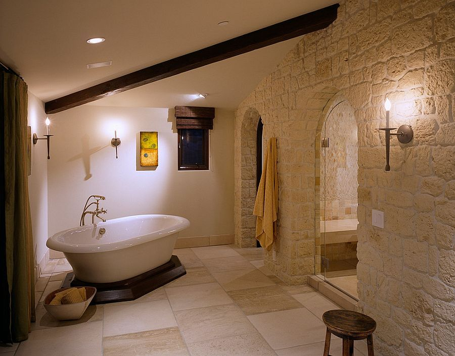 30 Exquisite and Inspired Bathrooms with Stone Walls ...