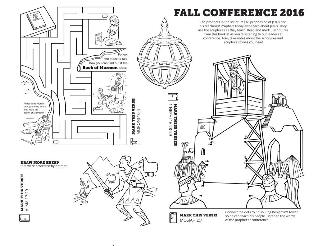Two-sided, one page coloring sheet for Fall Conference