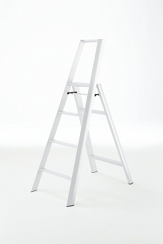 Excellent Amazon Com Lucano Step Stool Slim Design 4 Step White Machost Co Dining Chair Design Ideas Machostcouk