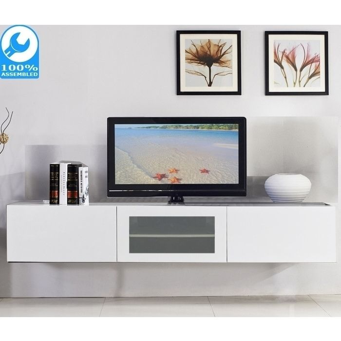 Glacia Floating Tv Cabinet In High Gloss White 1 8m