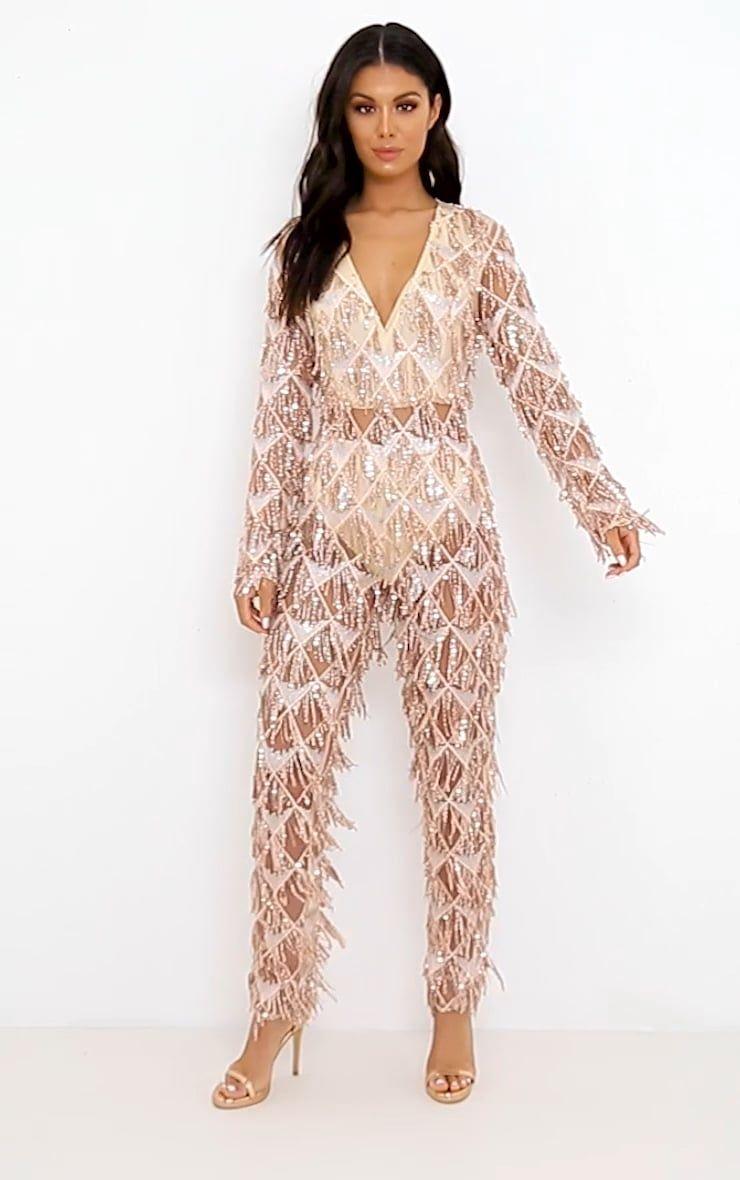 e40b8ee57d0 Rose Gold Tassel Sequin Plunge Jumpsuit