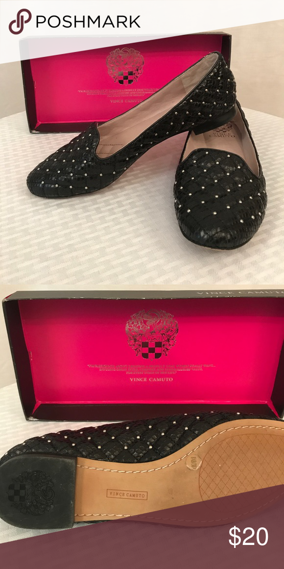 Shoes Black flats with silver studs through out. Worn once. Vince Camuto Shoes Flats & Loafers