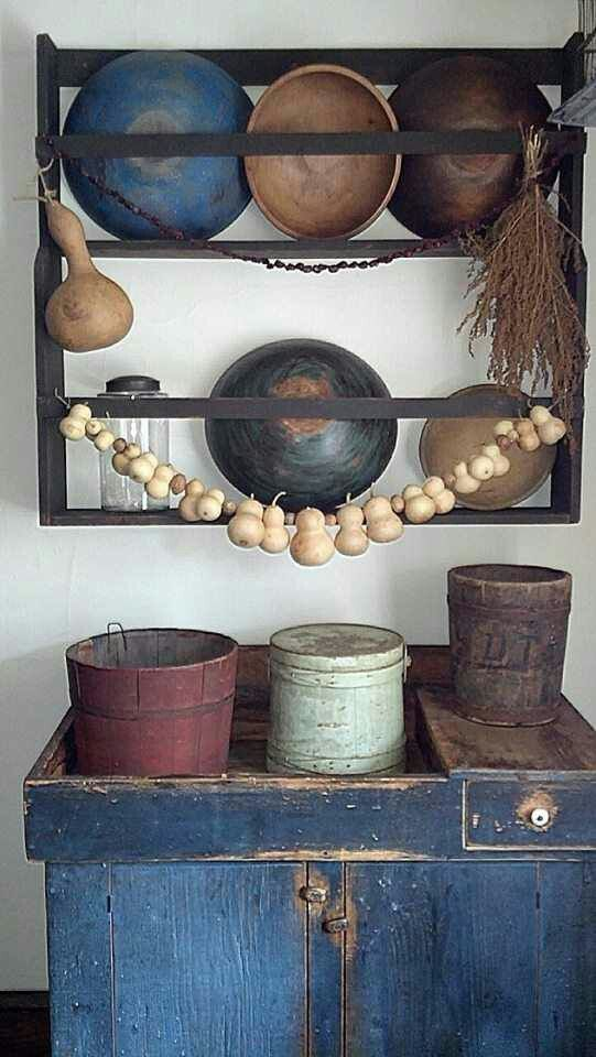 Wonderful wood bowls rack, w/  dry sink under, w/ ferkins & a bucket
