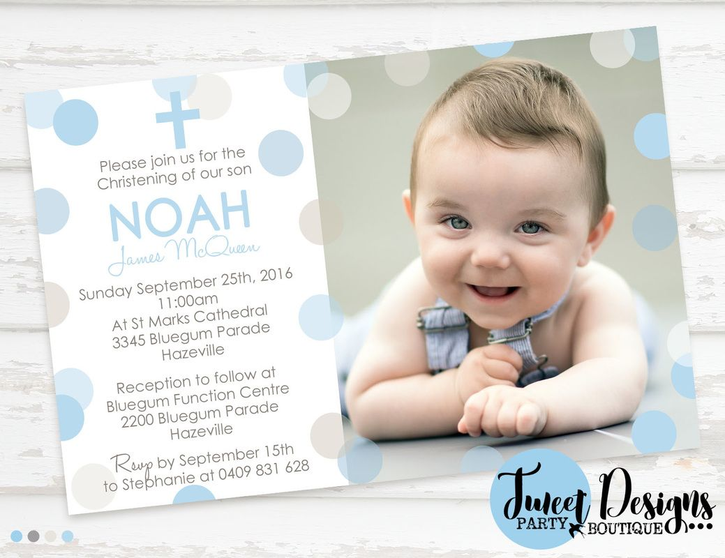 Blue Baptism Invitation, Confetti Christening Invitation, Boy ...