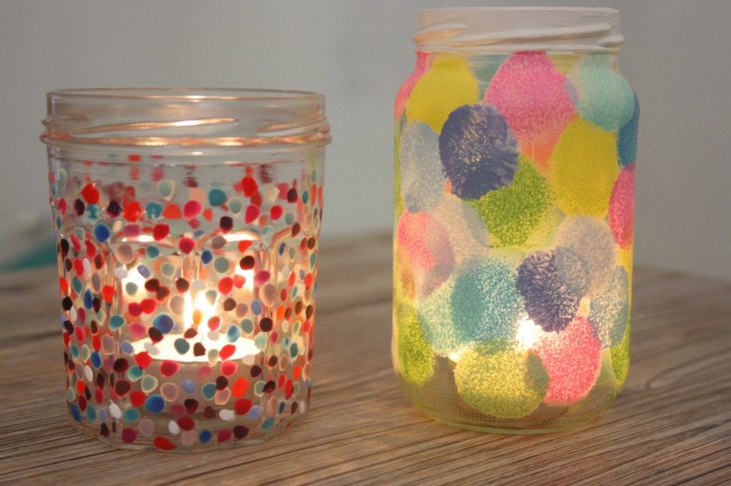 Diy recycler un pot de confiture en photophore pois activit s manuelles - Decoration pot de confiture ...