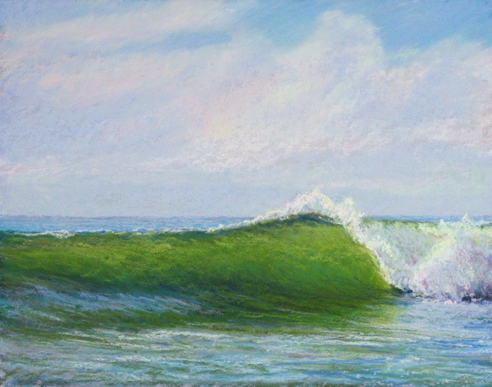 """""""Curl"""" is a pastel, 11x14"""" from my photos taken while standing in the ocean at New Smryna Beach and one of my """"waves"""" series. www.marshasavage.com"""