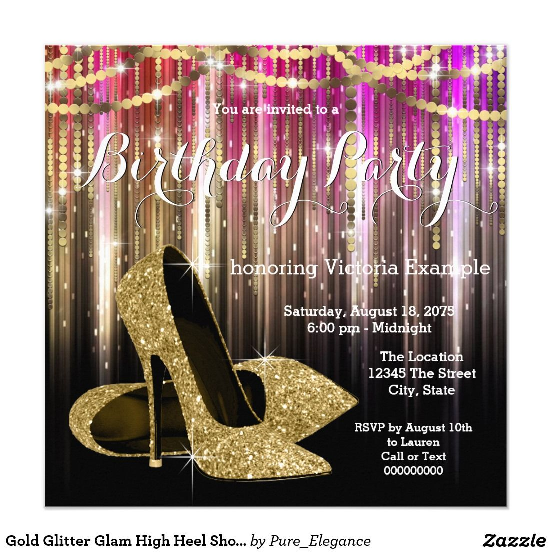 Gold Glitter Glam High Heel Shoe Birthday Party Card | Gold glitter ...