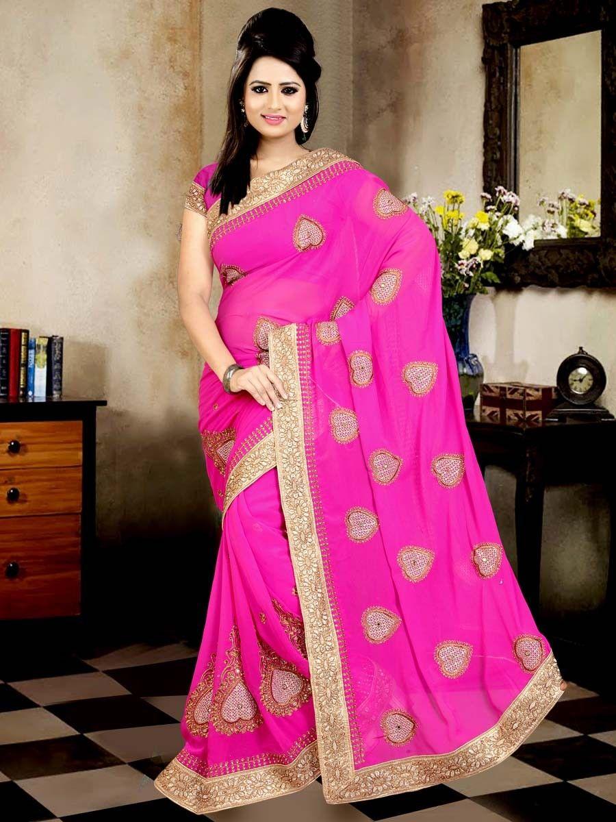 Miraculous pink color georgette saree adorned with zari, mirror, kundan work. Item Code: SNF257  http://www.bharatplaza.com/new-arrivals/sarees.html