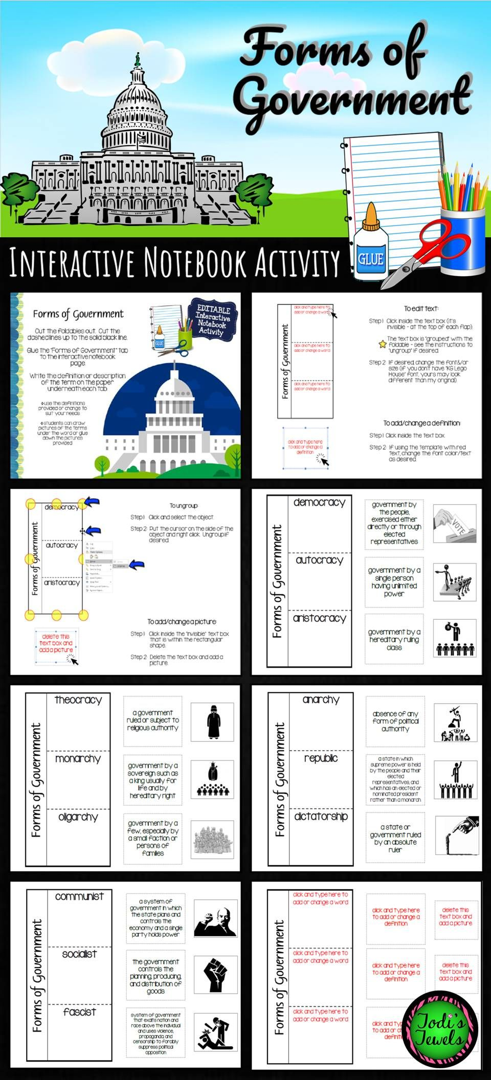 Forms Of Government Interactive Notebook Activity 2 Government