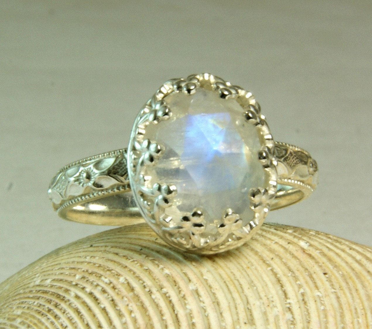 Rainbow Moonstone Ring, Sterling Silver, Faceted Stone, June Birthstone, Cocktail Ring, made to order by TazziesCustomJewelry on Etsy https://www.etsy.com/listing/197654634/rainbow-moonstone-ring-sterling-silver
