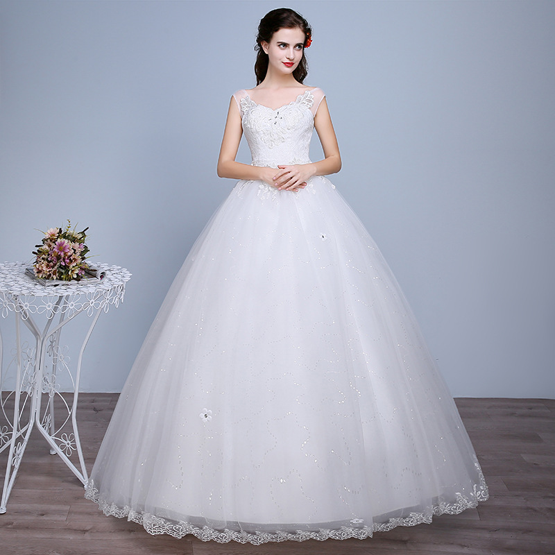 Lace Bridal Ball Gown With Beading A Line Wedding Dress Beautiful Prom