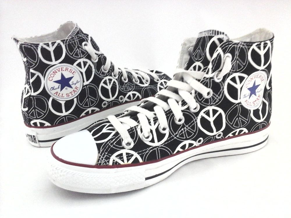 37261a1d30276f CONVERSE High Top Shoes Peace Sign Black White Sneakers Men s 7 Women s 9  RARE  Converse  Athletic