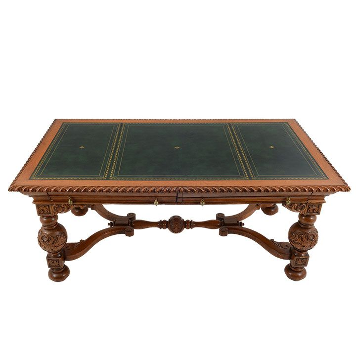 Vintage Victorian Style Oak And Green Leather Library Table, Circa 1940 50.  This