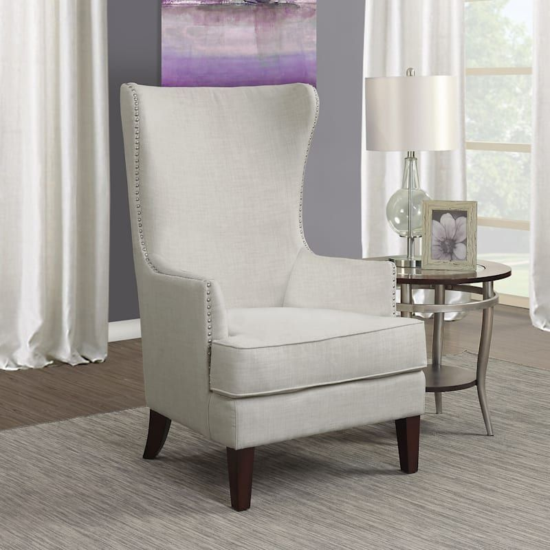 Kori Taupe High Back Accent Chair With Nailhead Trim At Home High Back Accent Chairs Wingback Chair Living Room Accent Chairs For Living Room High back living room chair