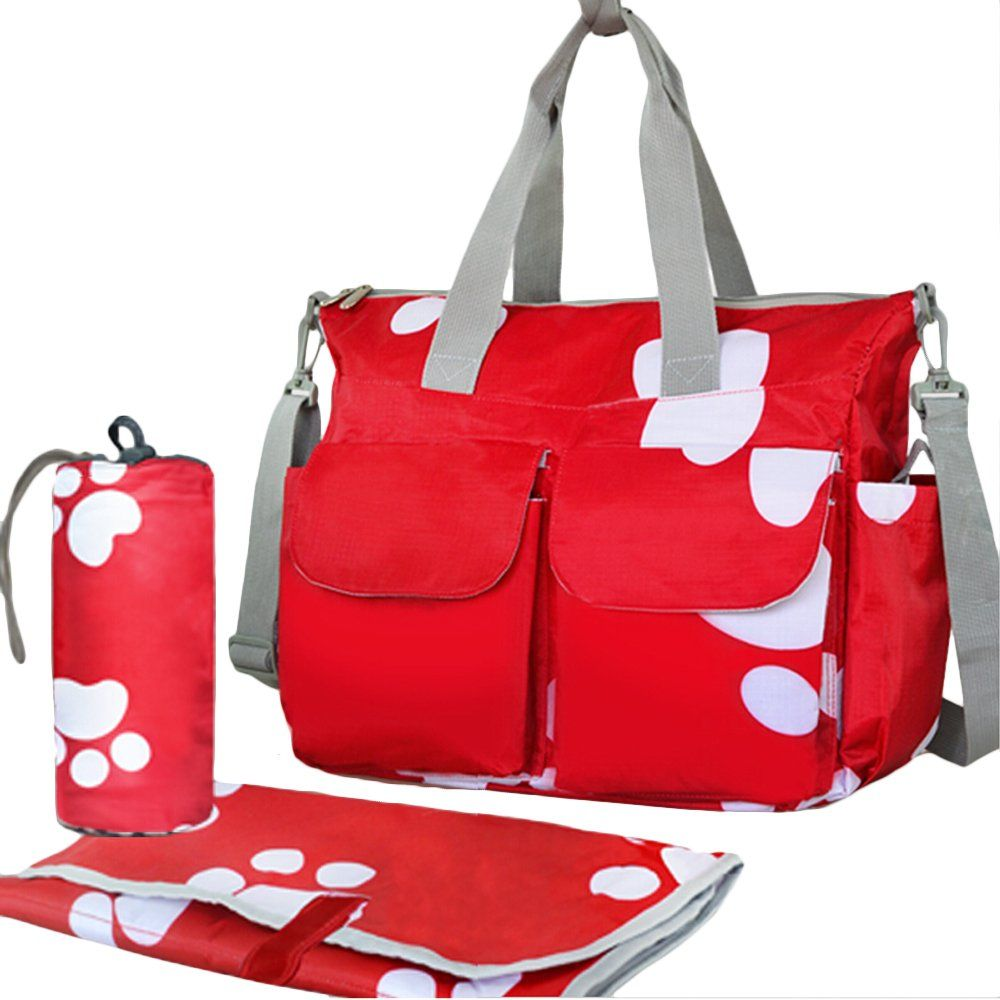 ea0cd097e3 Bebamour Nappy Changing Bag Set Large Capacity Diaper Handbag (Red):  Amazon.co.uk: Baby