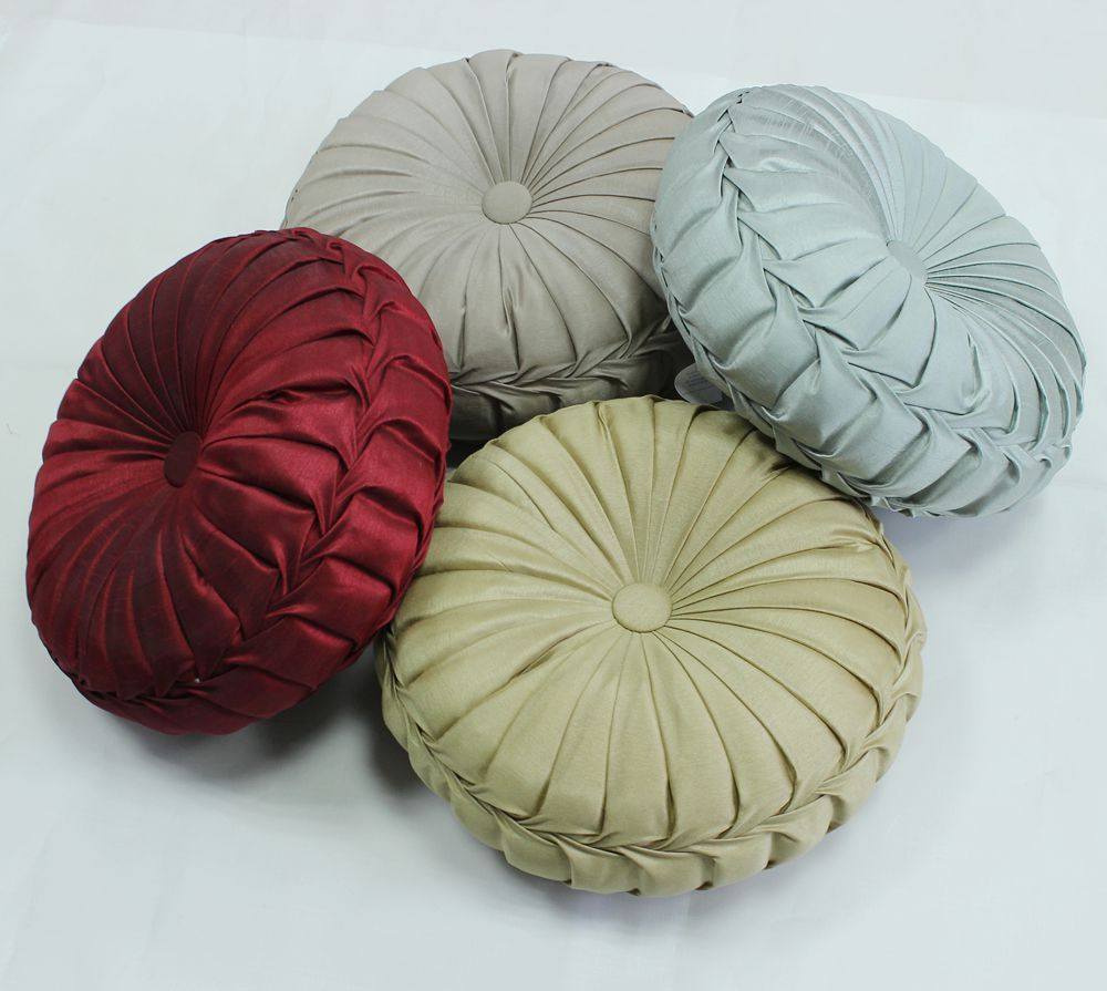 VEZO HOME Handmade Round Sofa Decorative Satin Cushions Plush Pillows Throw Pillow  Chair Seat Floor Home Decoration 13inch