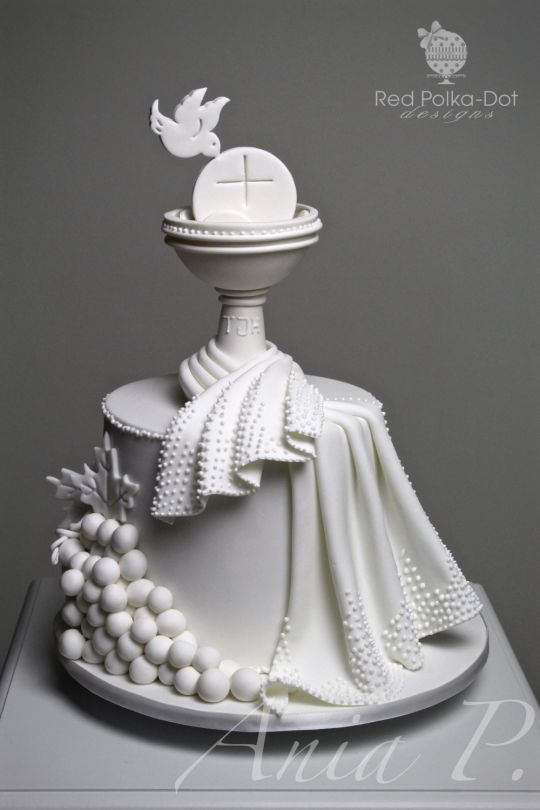 First holy communion cake by red polka dot designs was gmssc cakesdecor communion - Holy communion cake decorations ...