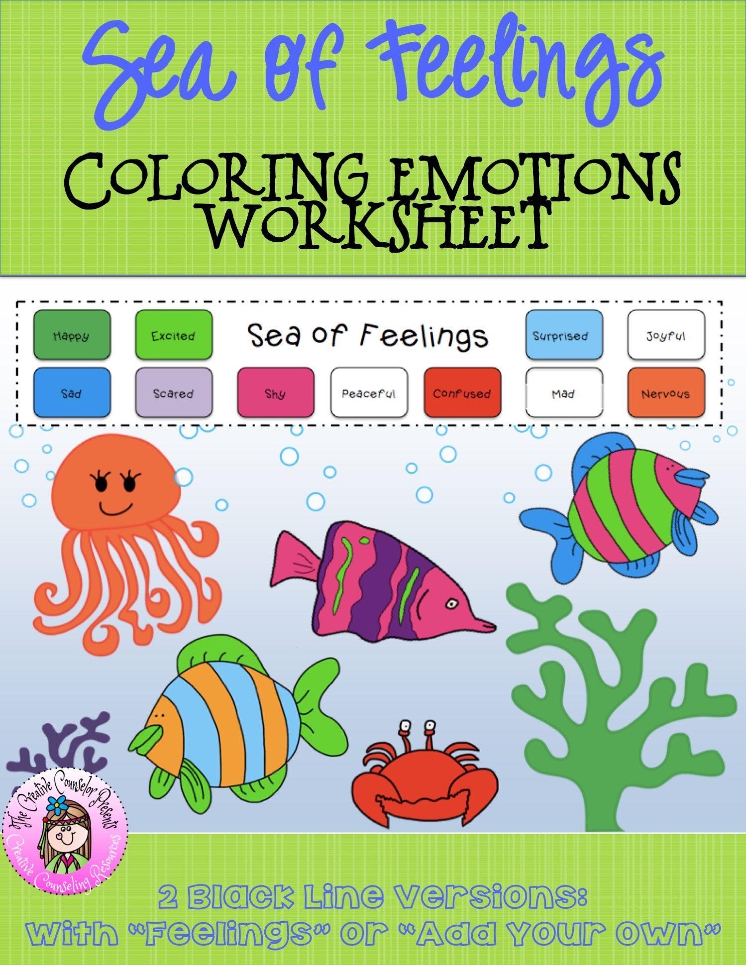 Sea of Feelings Coloring Emotions Worksheet in 2020 With ...