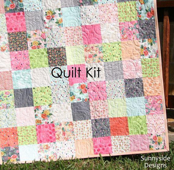 Fresh cut quilt kit basic grey moda fabrics precut squares peach fresh cut quilt kit basic grey moda fabrics precut sqaures peach pink coral yellow solutioingenieria Images