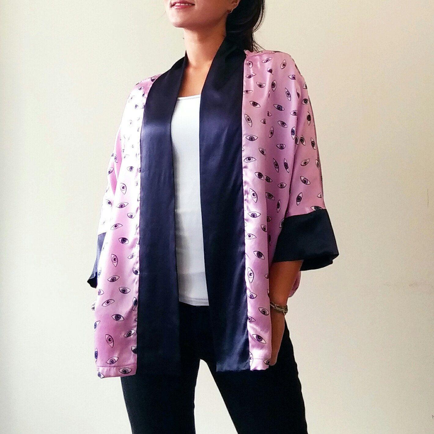 STORE PICK Silk Kimono, Unique Fall Jacket, Short Boho Kimono ...