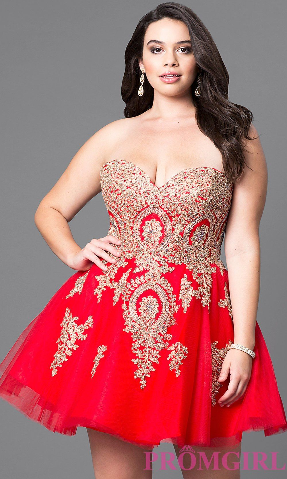 5678bb4c00a Plus-Size Strapless Short Homecoming Dress with Lace