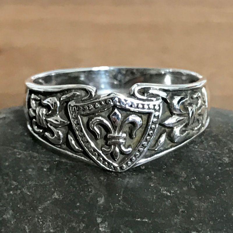 Men's Fleur De Lis Solid Sterling Silver Oxidized Shield Ring  #unbranded #Band
