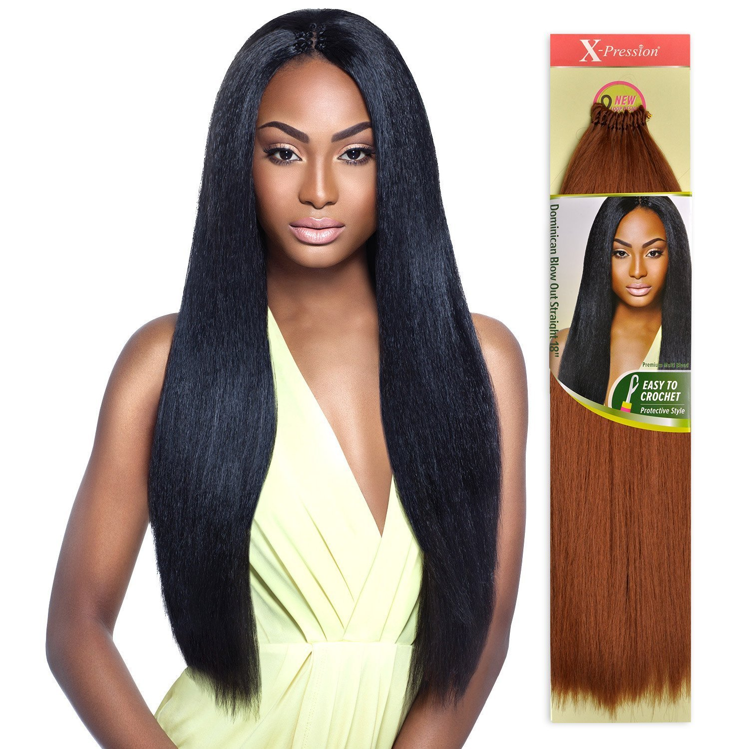 X Pression 18 Dominican Blow Out Synthetic Braid Hair Crochet By