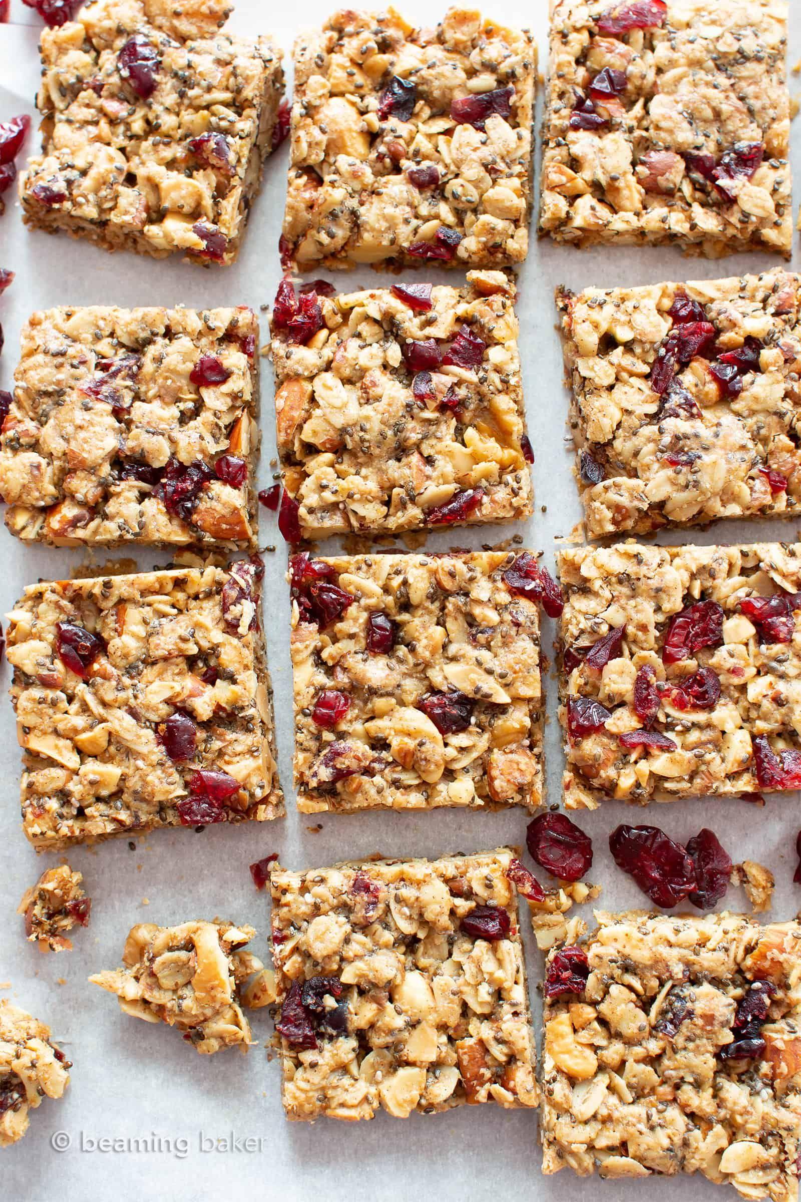 Cranberry Chia Gluten Free Vegan Snack Bars (Healt