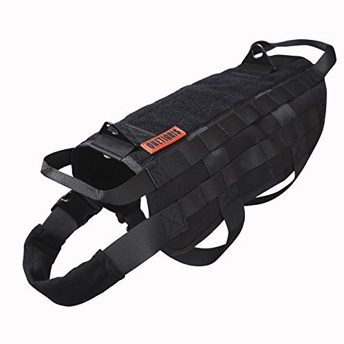 OneTigris Tactical Dog Training Molle Vest Harness Black M  41cm >>> Click image to review more details.