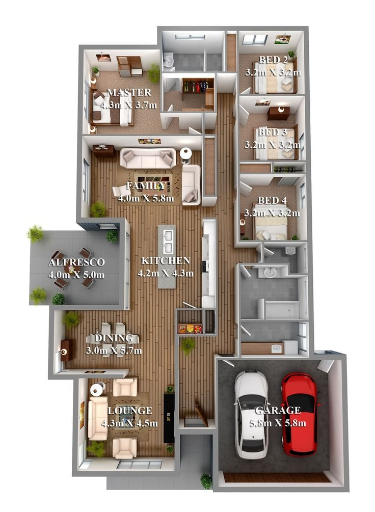 Image Result For Narrow 4 Bedroom Floor Plan Simple House Plans Bungalow House Plans House Plans