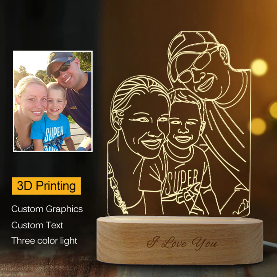 Dropshipping Customized 3d Night Light Usb Wooden Base Diy Night Lamp For Wedding Christmas Gift Holiday Christmas Gifts For Couples Photo Lamp 3d Night Light