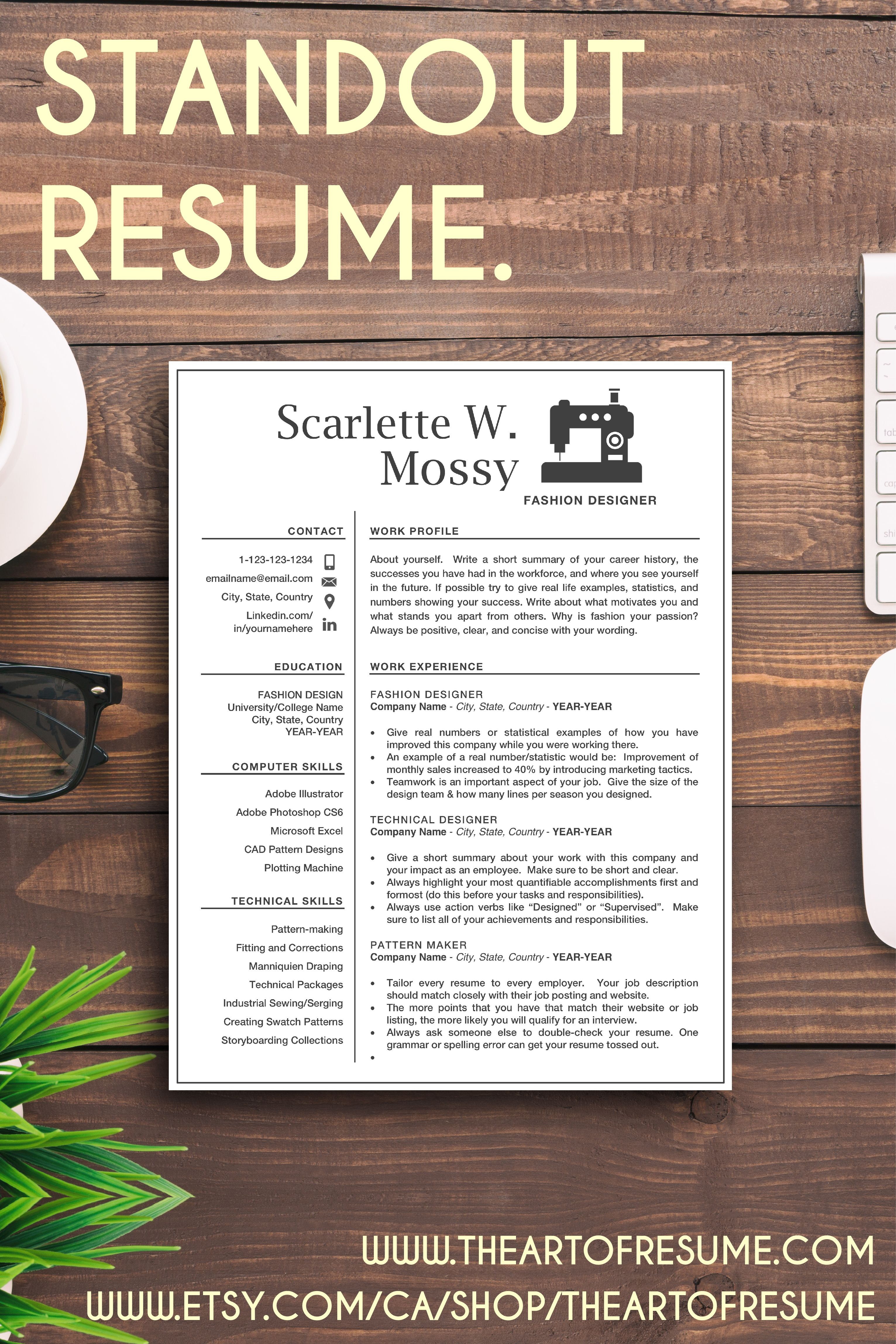 Resume Template Made For Fashion Design Seamstress Etc But Can Be Customized For Any Career Editable In Ms Word This Cv Bundle 1 2 Or 3 Pages With Cover