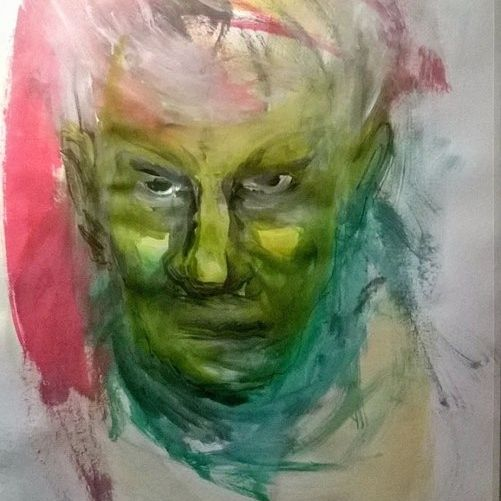 """""""Self-portrait"""", ink and acrylic on the bamboo paper, 2014"""