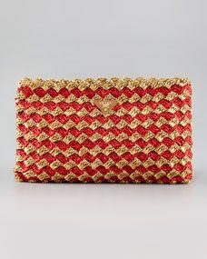Prada Crocheted Raffia Large Clutch Bag  effd645ef3