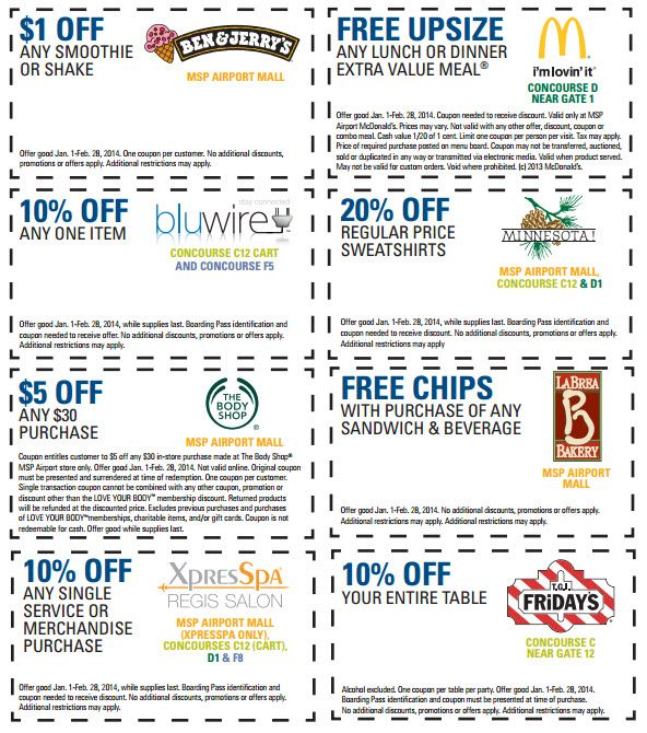 10 Off Spa Free Upsize And Other Msp Airport Coupons Heels First Travel Smoothie Shakes Starbucks Offer 10 Things