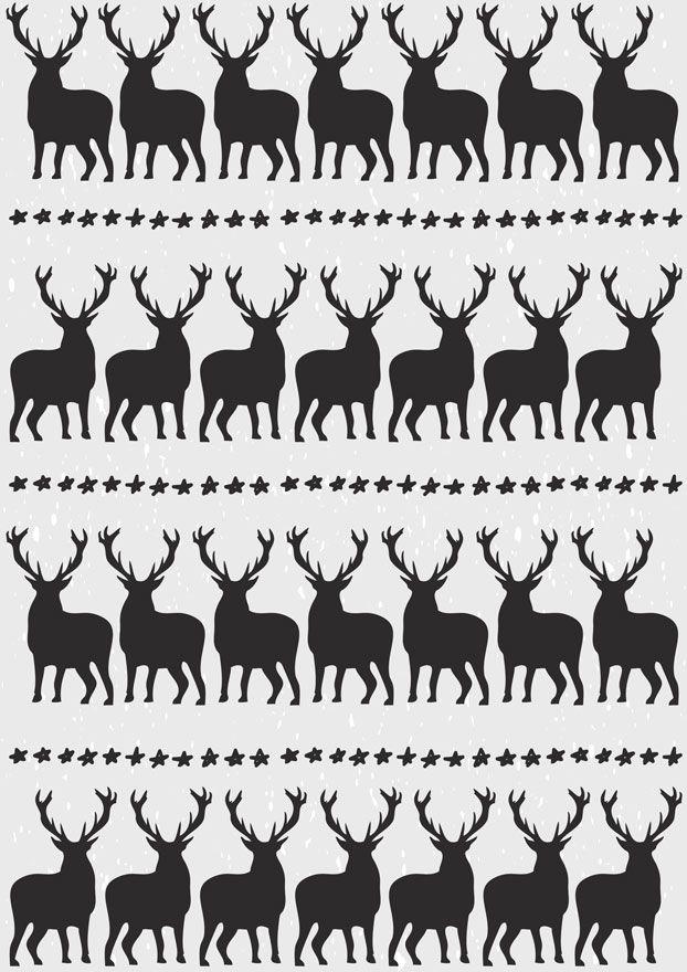 Free Printable Christmas Gift Wrap Black White Reindeer | My ...