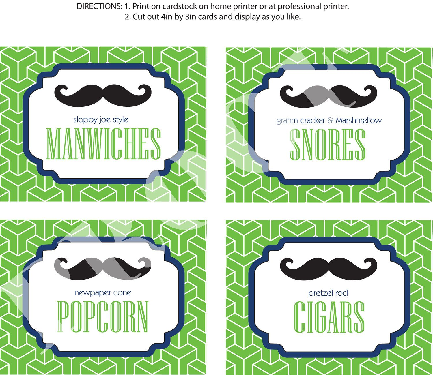 DIY Printable Little Man Party Food Labels Mustache Bash