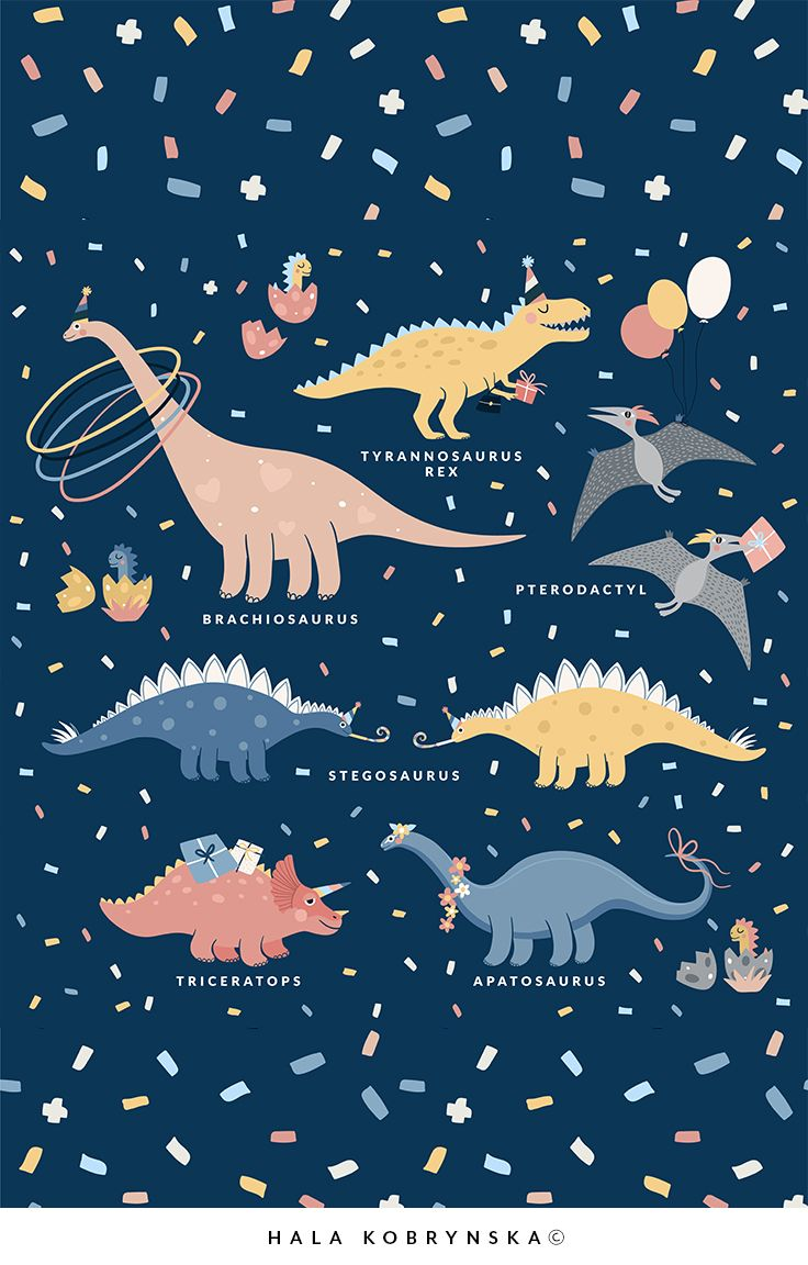 Decor idea for children's bedroom. Super cute poster for kids with Dino's Birthday Party.