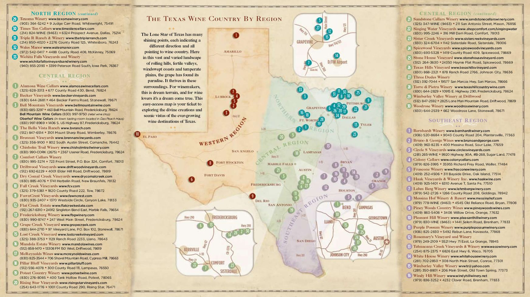 Driving Maps Texas Wine And Trail Magazine