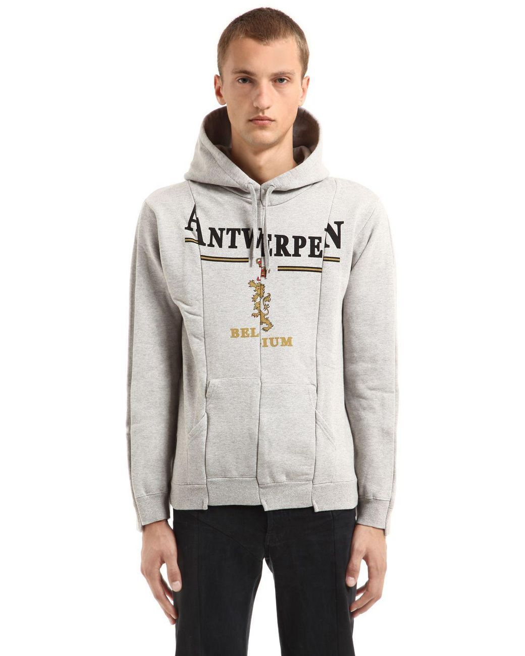 b72095ae8de Vetements   Gray Antwerpen Cut Up Hooded Sweatshirt for Men   Lyst