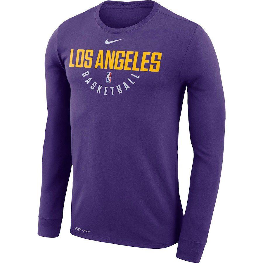 Men S Los Angeles Lakers Nike Purple Practice Long Sleeve Performance T Shirt Long Sleeve Tshirt Men Nba T Shirts Long Sleeve