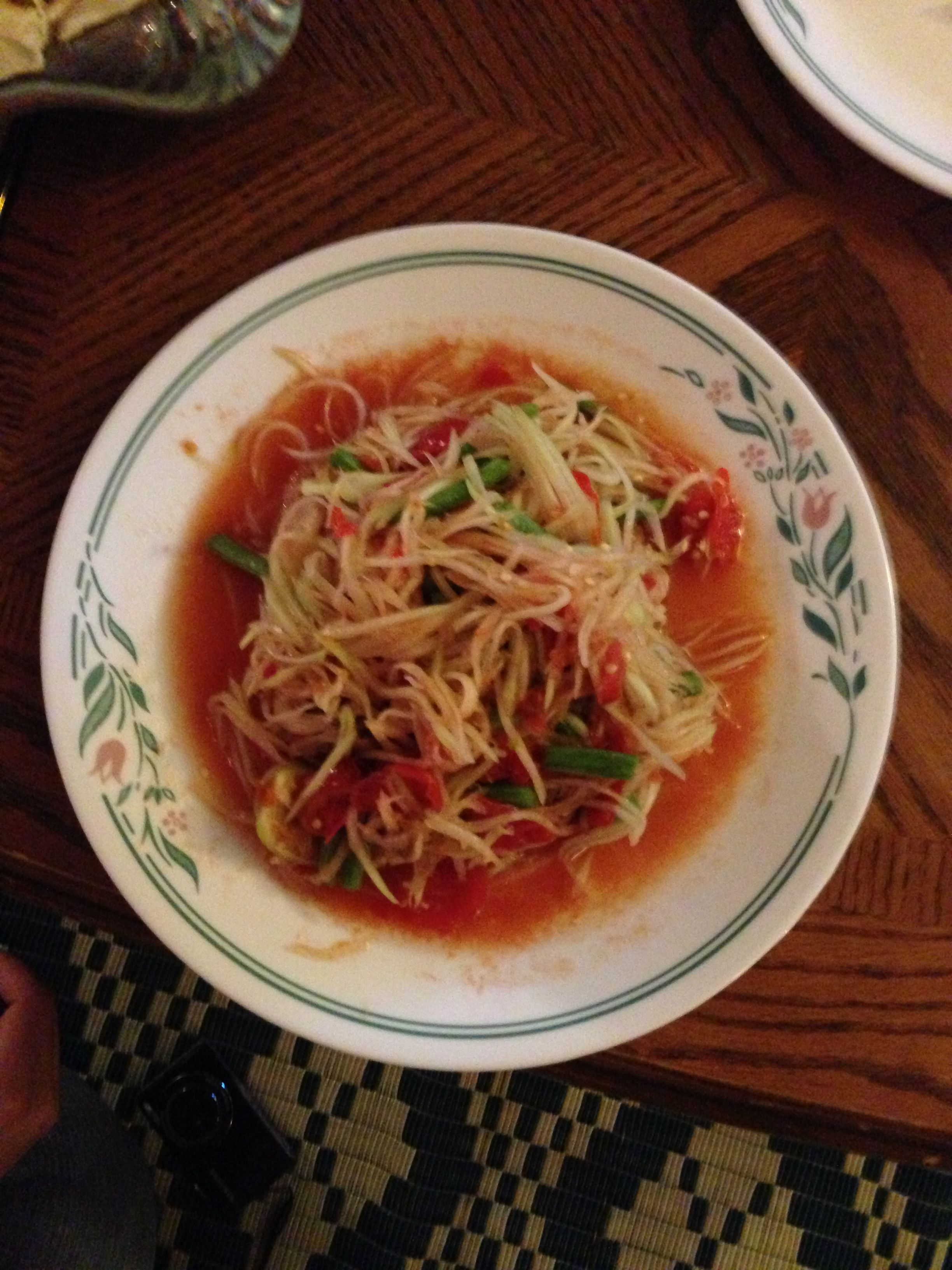 Very spicy papaya salad made by a Thai friend for Christmas dinner.