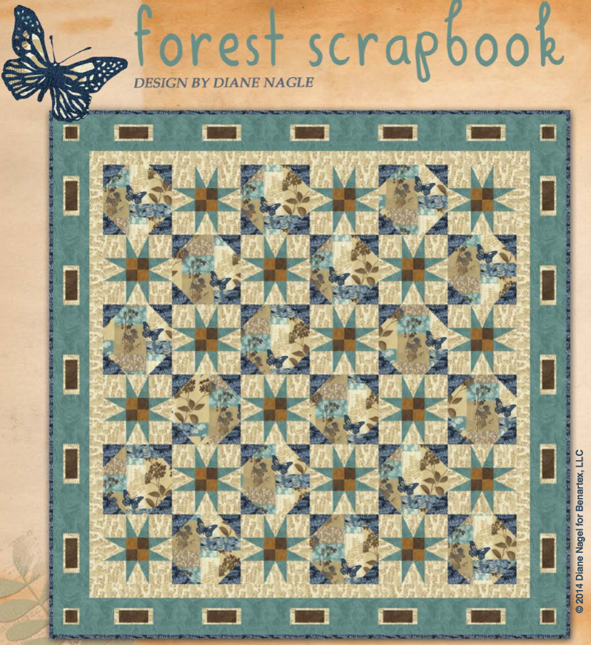 We love the charming feel of this design, isn't it wonderful? This quilt was designed by Diane Nagle for Benartex fabrics using their Fernwood collection by Jennifer Young, and was created to emulate the feel of scrapbook pages. The project download is very nicely put together and easy to follow. http://www.freequiltpatterns.info/free-pattern---forest-scrapbook-quilt-by-diane-nagle.htm