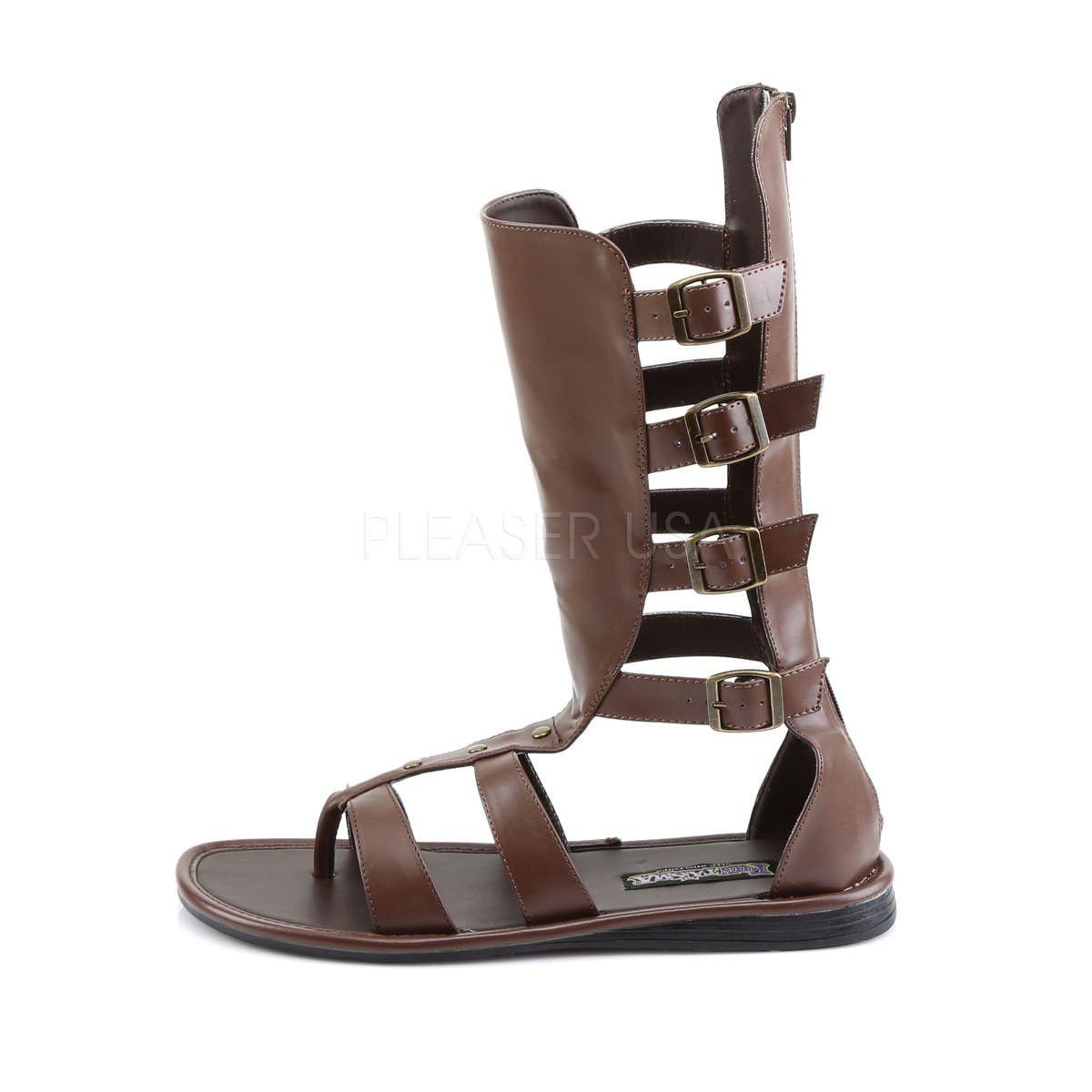 Men S Brown Pu Roman Gladiator Spartan Sandals High Gladiator Sandals Mens Sandals Sandals