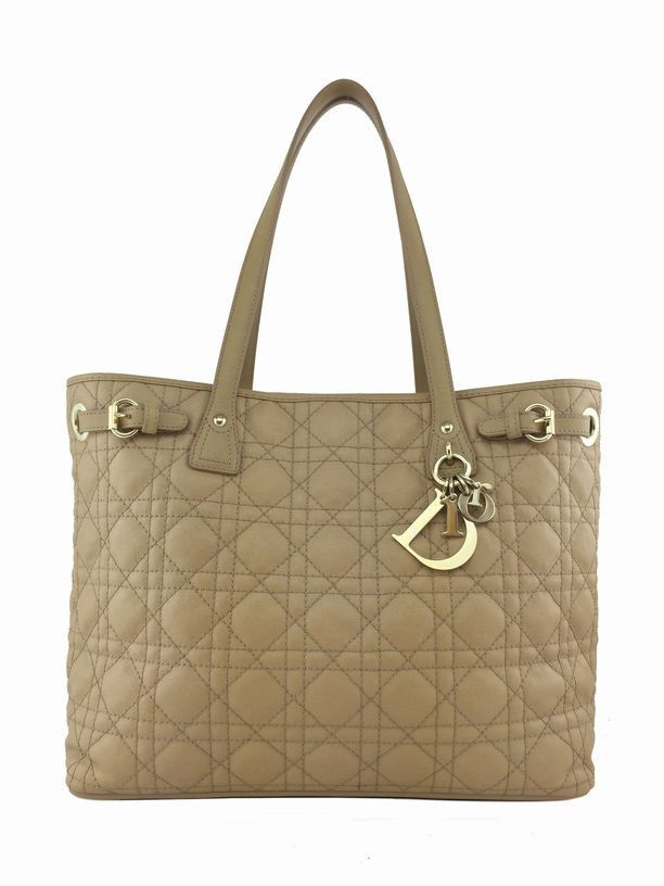 f03097ced082 Christian Dior Cannage Quilted Coated Canvas Small Panarea Tote Beige